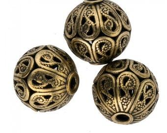 Super high quality solid brass filigree bead. 10x11mm. Pkg of 1. b18-0135(e)