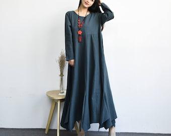 Ginkgo---loose Maix dress  Linen&cotton dress  with two pockets   Plus size dress  Plus size clothing