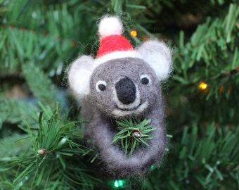 Needle-felted Koala Christmas Ornament (with Santa Hat)