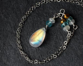 Moonstone Necklace - Moonstone Jewelry - Rainbow Moonstone Necklace - Sterling Silver Necklace - Blue Topaz - Gold Pyrite - June Birthstone