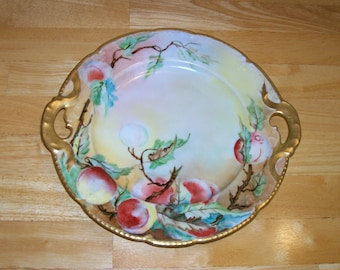 Bassett Limoges Austria antique plate Peaches on Tree 9.5 inch collectibles vintage china kitchen dinnerware tableware decorative home décor