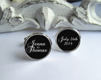 Wedding Cufflinks, Personalized Mens Cufflinks, Customized With Names And Date