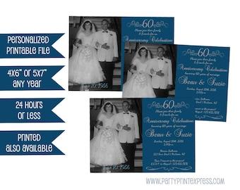 Printable 60th Anniversary Party Invite - Photo 60th Wedding Invitation - 60th Wedding Anniversary Invitation - Diamond Anniversary Party