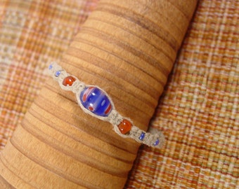 Blue bead with smaller orange and blue beads macrame bracelet or anklet