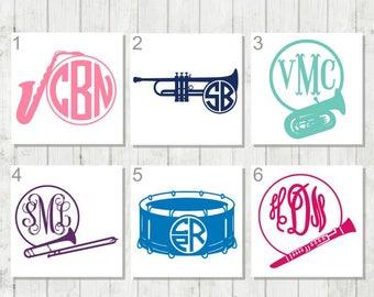 Band Monogram Decal, Music Monogram, Instrument Decal, Vinyl Decal