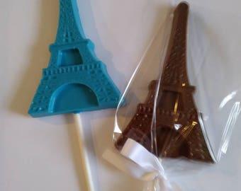 Eiffel tower chocolate lollipops