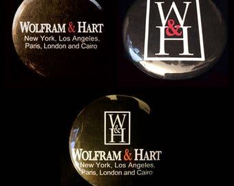 Angel Wofram & Hart Set of Pinback Buttons
