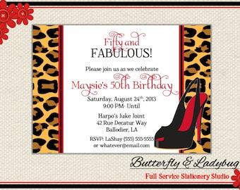 Cheetah Leopard Stiletto High Heel Shoe Divorce, Birthday, Bachelorette, Bridal Shower Invitation Printable Digital File ( Any Wording)