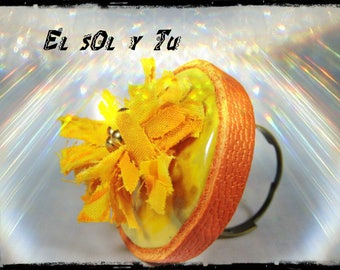 "SOLD - Ring ""El sol y you"" - fabric (batik) shades of yellow - yellow, mini ceramic Rondelle miyuki beads and orange leather"
