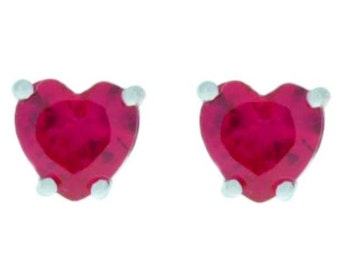 2 Ct Ruby Heart Stud Earrings .925 Sterling Silver Rhodium Finish