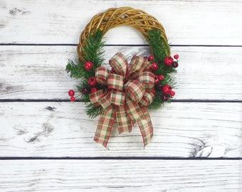 Christmas Rustic Wreath, Apartment Door Wreath, Primitive Wreath, Christmas Primitive Wreath, Primitive Christmas Decor, Holiday Door Wreath