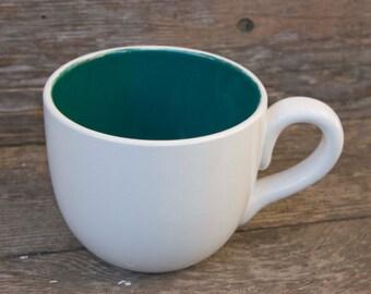 28 oz Mug, White cup with Teal inside.