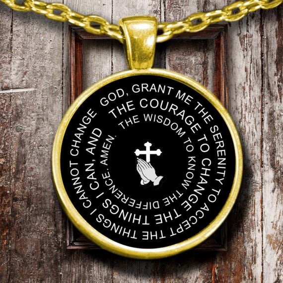 Serenity prayer pendant necklace 18k gold or sterling silver mozeypictures Image collections