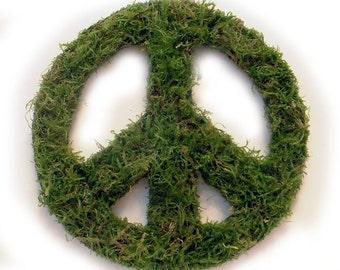 Oregon Green Moss peace symbol wreath