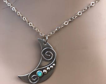 Moon necklace opal sterling silver moon necklace