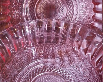 Set of 2 Vintage Fleur de Lis Sandwich Pink Glass Serving Bowls