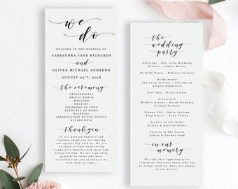 Wedding Program Printable Template - Editable Wedding Program - Tea Length Order of Service - Modern Calligraphy - EDIT in WORD - Cassandra