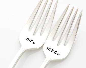 Mr and Mrs wedding forks, hand stamped silverware, engagement gift. As featured by Martha Stewart Weddings.