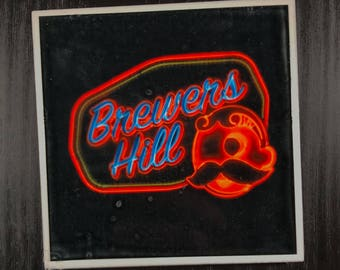Brewer's Hill Baltimore Neon Sign w/ Natty Boh Guy -  Photo Coaster