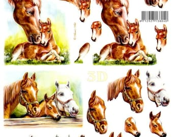 3d sheet of Images to cut horses and foals.