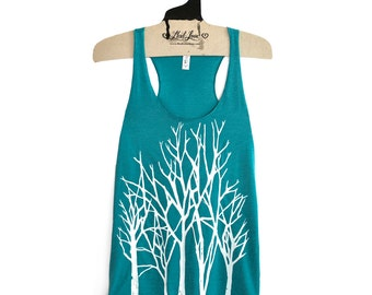 L,XL- Tri-Blend Teal Racerback Tank with Branch Trees Screen Print