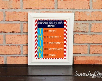 Before You Speak, Think - Classroom Art – Teacher – Students - Primary Colors - Classroom Rules - TEACHER GIFT – Chevron