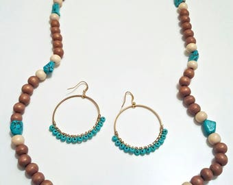 Salish Sea Earrings // Turquoise Threaded Hoops