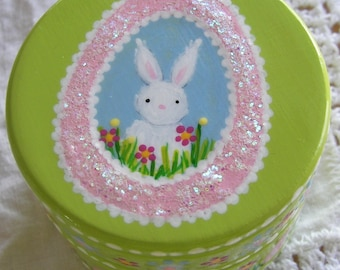 Hand Painted Love Boxes Easter Bunny Sugar Egg Box Wood