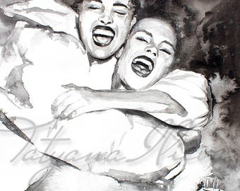 Watercolor Print. Wall art portrait of beautiful girls having fun. Digital print. Black and white. Girls love. Friends.
