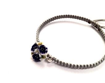 ON SALE- A vintage glass flower button, sterling silver bead friendship bracelet