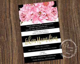 Black Stripe Floral Bridal Shower