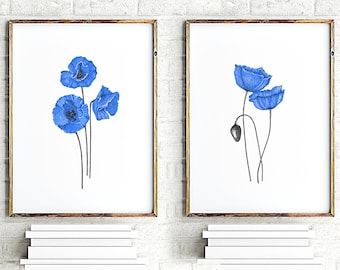 Blue flowers wall art set of 2, botanic print art sets, floral bedroom prints, flower illustration, wall painting, navy poppies wall decor