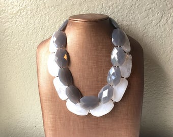 Gray & White Necklace, multi strand jewelry, big beaded chunky statement necklace, gray necklace, bridesmaid necklace, bib necklace, gray