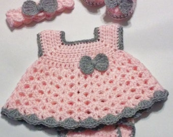 Crochet Pink and Gray Baby Girl Dress Set with Diaper Cover, Headband and Ballerina Booties Newborn Baby Shower Gift  READY TO SHIP