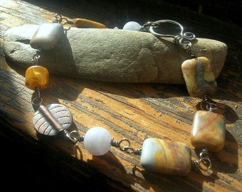 Venus Jasper Chalcedony sterling silver bracelet wire wrapped yellow resin copper charm light blue orange natural stone