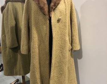 Rare 1940s camel wool and satin coat with fur trim