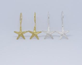 Small starfish drop earrings