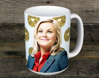 Leslie Knope MUG Parks and Recreation coffee tea Waffles tv show gifts for galentines Pawnee Feminist