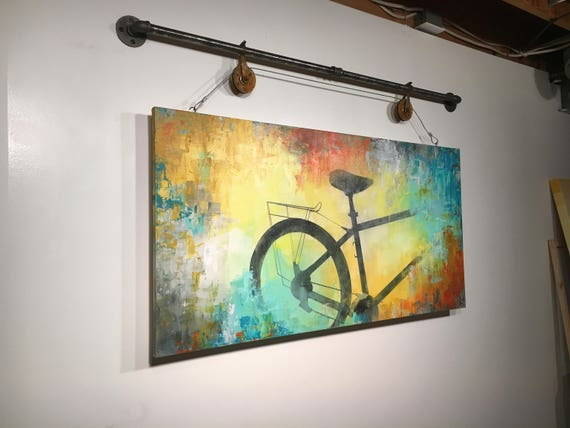 Large abstract painting acrylic wall art gift industrial