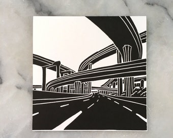 Harbor and Century Freeways, single card
