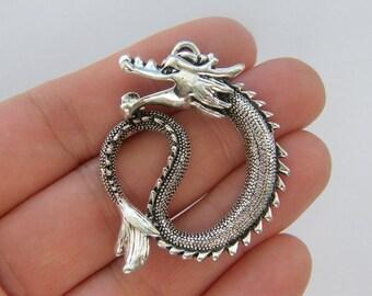 2 Dragon charms antique silver tone A619