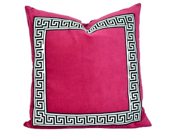 Pink Pillow Cover with Black and White Greek Key Trim