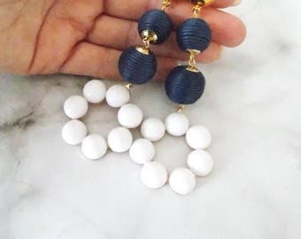 Navy Blue and White Clip-On Earrings