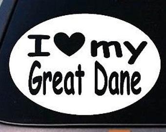 "I Love My Great Dane Sticker Dog  Truck Window 6"" Sticker Decal"