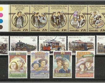 Vintage Australian postage stamps, unused from 1980s, three complete series