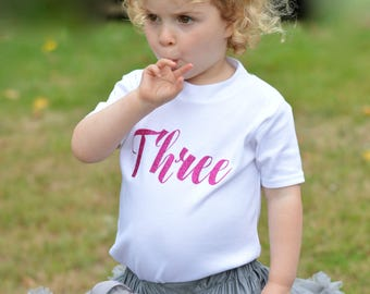 Pink Glitter Third Birthday Outfit Girl | 3rd Birthday Shirt | Toddler Girls Clothes | Script Three