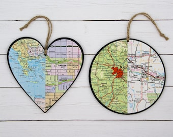 Long Distance Relationship Custom Map Heart Couples Gift Our First Christmas Anniversary Gifts for Boyfriend Christmas Gift Custom Ornaments