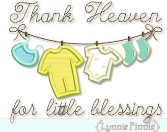 THANK Heaven for Little BLESSINGS Clothesline Applique 4x4 5x7 6x10  Machine Embroidery Design newborn baby  INSTANT Download