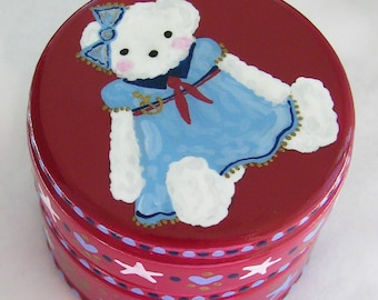 Hand Painted Love Boxes Sailor Bear Red Box Wood