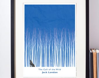 The Call of the Wild minimalist book cover print. Wall art of Jack London's classic 1903 novel. Available at A3, A4 or A5.